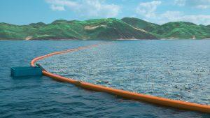 Der Müll soll von der Meeresströmung in Auffangbarrieren getrieben werden. Quelle: The Ocean Cleanup Projekt