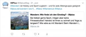 Ein Hashtag wird meistens auf Twitter verwendet. Wie hier hilft das Schlagwort #wandern, viele Waner-Begeisterte auf den Beitrag aufmerksam zu machen. Bildquelle: twitter.com/59plusMag