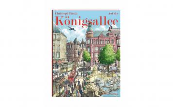 """""""Auf der Königsallee"""" von Christop Baum illustriert die Geschichte der Düsseldorfer Kö. Bildquelle: Greven Verlag"""