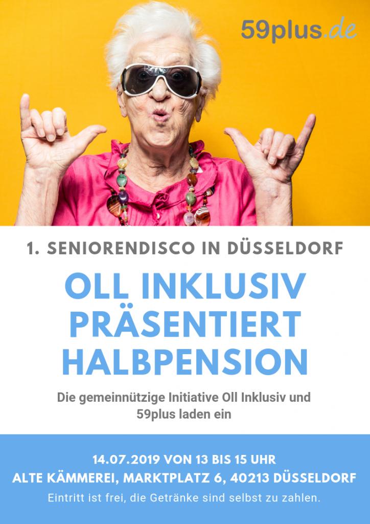 """59plus und """"Oll inklusiv präsentiert Halbpension"""" laden zur ersten Seniorendisco Düsseldorfs ein."""